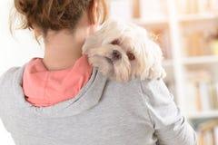 Mujer que sostiene un perro Imagen de archivo libre de regalías
