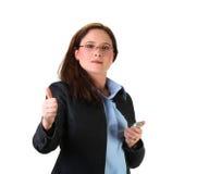 Mujer que sostiene un teléfono imágenes de archivo libres de regalías