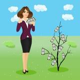 mujer que sostiene una fan del dinero stock de ilustración