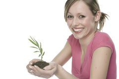 Mujer que sostiene una planta creciente Imagen de archivo