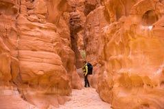Mujer que sube en el barranco, Sinaí, Egipto imágenes de archivo libres de regalías