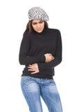Mujer que sufre con dolor de estómago Foto de archivo libre de regalías