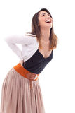Mujer que sufre de dolor de espalda Fotos de archivo libres de regalías