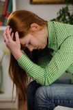 Mujer que sufre de la depresión Imagen de archivo
