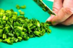 Mujer que taja la cebolla verde Fotos de archivo