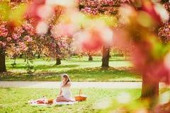 Mujer que tiene comida campestre en d?a de primavera soleado en parque durante la estaci?n de la flor de cerezo fotografía de archivo libre de regalías