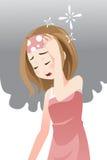 Mujer que tiene dolor de cabeza stock de ilustración