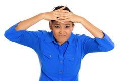 Mujer que tiene dolor de cabeza Fotografía de archivo libre de regalías