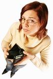 Mujer que tiene problemas financieros Imagen de archivo