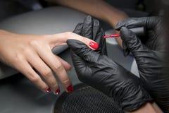 Mujer que tiene una manicura del clavo en un salón de belleza con una opinión del primer un cosmetólogo que aplica el barniz con  fotografía de archivo libre de regalías