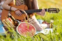 Mujer que toca la guitarra en una comida campestre Foto de archivo