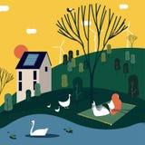 Mujer que toma el sol cerca una casa situada en naturaleza ilustración del vector