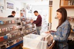 Mujer que trabaja detrás del contador en una tienda de registro Foto de archivo libre de regalías