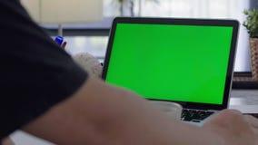 Mujer que trabaja en casa encendido con la pantalla del verde del ordenador port?til metrajes