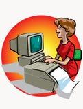 Mujer que trabaja en el ordenador stock de ilustración