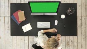 Mujer que trabaja en el ordenador y que habla en el teléfono Exhibición verde de la maqueta de la pantalla almacen de video