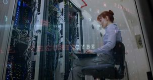 Mujer que trabaja en el sitio 4k de servidor de datos metrajes