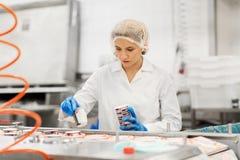 Mujer que trabaja en el transportador de la fábrica del helado imagenes de archivo