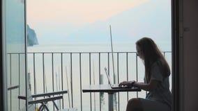 Mujer que trabaja en la computadora port?til almacen de metraje de vídeo