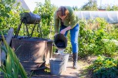 Mujer que trabaja en un jardín imagenes de archivo