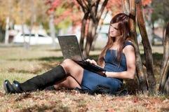 Mujer que usa el cuaderno Imagen de archivo libre de regalías