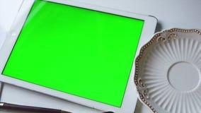 Mujer que usa el ordenador de la tablilla Pantalla adaptable almacen de metraje de vídeo