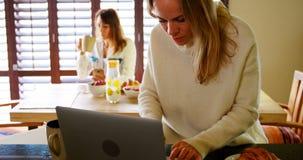 Mujer que usa el ordenador portátil mientras que su socio que come café en el fondo 4k almacen de video