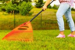 Mujer que usa el rastrillo para limpiar el césped del jardín Foto de archivo libre de regalías