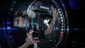 Mujer que usa VR con los gráficos