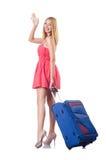 Mujer que va a vacation con la maleta Imagen de archivo