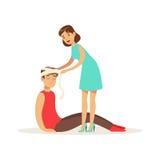 Mujer que venda a la cabeza del hombre herido, hombre joven con el trauma del ejemplo principal del vector ilustración del vector