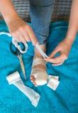 Mujer que venda su pierna herida Fotos de archivo