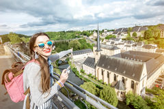 Mujer que viaja en Luxemburgo Imagen de archivo libre de regalías