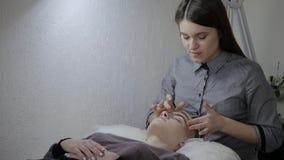 Mujer relajante que tiene un masaje para su piel en una cara en salón almacen de video