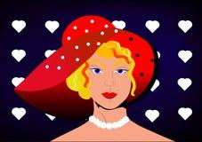Mujer retra con el sunhat rojo Foto de archivo