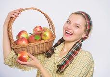 Mujer retra con la cesta Bocado de la captura Fruta estacional del oto?o de la cosecha de la ca?da Cultivo de concepto Dientes sa fotos de archivo libres de regalías
