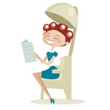 Mujer retra de la historieta, en el salón de pelo Imágenes de archivo libres de regalías