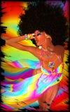 Mujer retra del Afro en fondo colorido Imagen de archivo