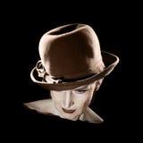 Mujer retra en retrato del vintage del sombrero Foto de archivo libre de regalías