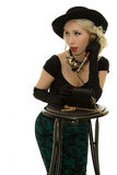 Mujer retra que habla en el teléfono Foto de archivo libre de regalías