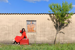 Mujer retra que se sienta en una maleta Foto de archivo libre de regalías