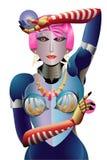 Mujer robótica moderna con la decoración Fotos de archivo libres de regalías