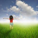 Mujer roja feliz que salta en cielo verde de los campos y de las nubes del arroz Imagen de archivo libre de regalías