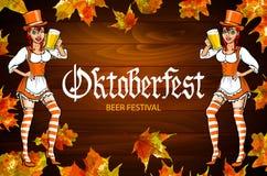 Mujer roja más oktoberfest alemana bastante joven de un vestido del dirndl con vector de la cerveza Foto de archivo libre de regalías