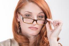 Mujer roja profesional del pelo Foto de archivo
