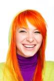 Mujer roja sonriente feliz del pelo con los dientes sanos Imágenes de archivo libres de regalías
