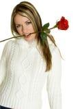 Mujer romántica de Rose Foto de archivo