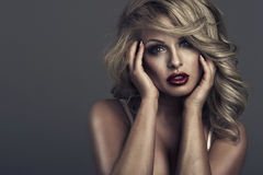Retrato del estilo de Vogue de la mujer delicada de la belleza Fotografía de archivo libre de regalías