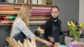 Mujer rubia atractiva en el delantal que se coloca con su compañero de trabajo en el contador en tienda floral mientras que arreg almacen de metraje de vídeo