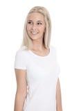 Mujer rubia bastante joven aislada con la camisa blanca Imágenes de archivo libres de regalías